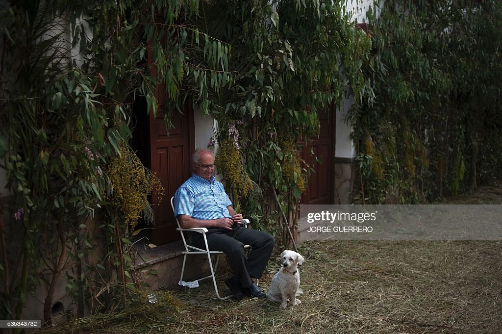 A man looks at his dog as he sits at the entrance of his house to watch the procession during the Corpus Christi celebrations in El Gastor, southern Spain on May 29, 2016. The village of El Gastor celebrate the feast of Corpus Christi (or Body of Christ in Latin) covering the streets and facades of houses with branches of trees and grass. / AFP / JORGE