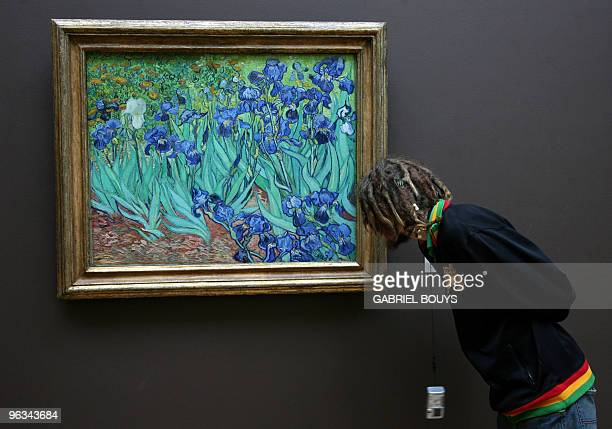 A man looks at 'Irises' by Dutch Vincent van Gogh at the Getty Center in Los Angeles 05 January 2007 Van Gogh painted this oil on canvas in 1889 in...
