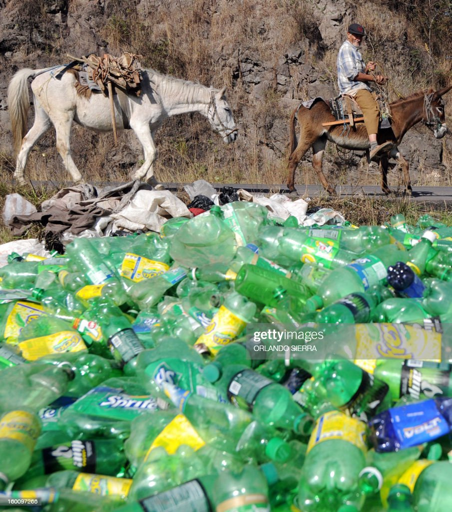 A man looks at plastic bottles to be recycled in the northern outskirts of Tegucigalpa, on January 26, 2013. AFP PHOTO / Orlando SIERRA