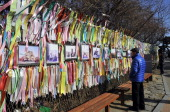 A man looks at 'reunification ribbons' displayed on a military barbed wire fence at Imjingak peace park in Paju near the Demilitarized Zone dividing...