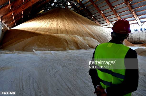 A man looks at the French sugar cooperative Cristal Union's storage area at the SFIR Raffineria di Brindisi sugar refinery in Brindisi on March 15...