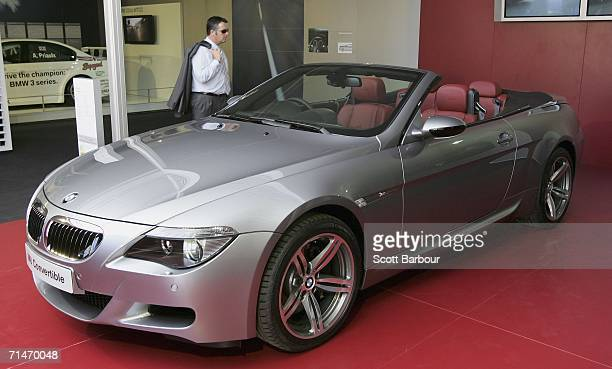 A man looks at the new BMW M6 Convertible as it makes its world premiere at the British International Motor Show on July 18 2006 in London England...