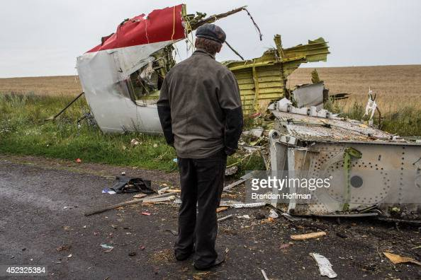A man looks at the wreckage of passenger plane Malaysia Airlines flight MH17 on July 18 2014 in Grabovka Ukraine Malaysia Airlines flight MH17...