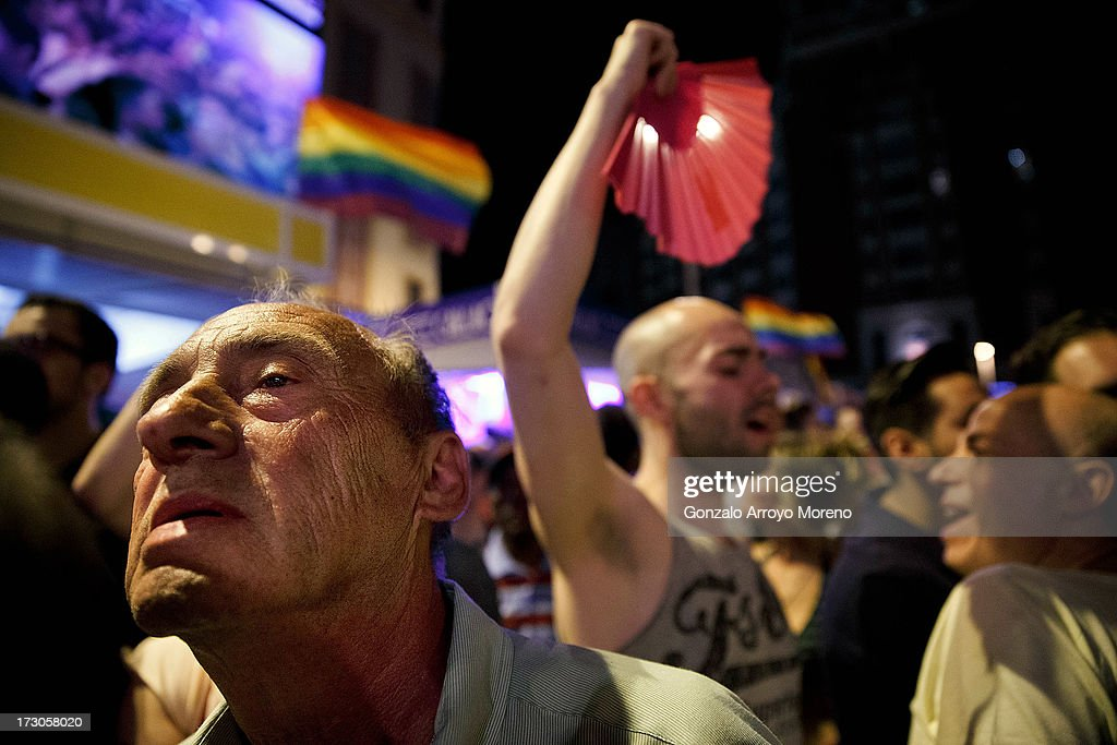 A man looks on at the Callao Square stage during the Madrid Gay Pride Festival 2013 on July 5, 2013 in Madrid, Spain. According to a new Pew Research Center survey about homosexual acceptance around the world, Spain tops gay-friendly countries with an 88 percent acceptance rate.