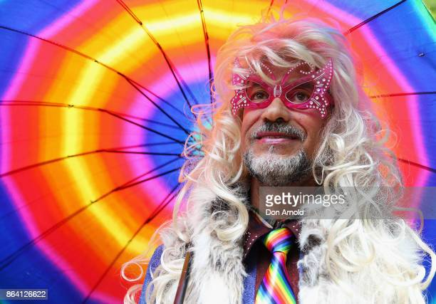 A man looks on during a speech at the YES March for Marriage Equality on October 21 2017 in Sydney Australia Australians are currently taking part in...
