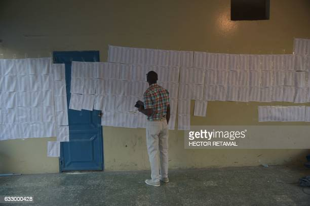 TOPSHOT A man looks the voting lists at the Lycee National of Petion Ville in the commune of Petion Ville PortauPrince on January 29 2017 during the...