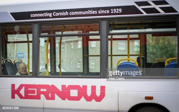 A man lools out the window of a bus in Camborne on July 24 2017 in Cornwall England Figures released by Eurostat in 2014 named the British county of...