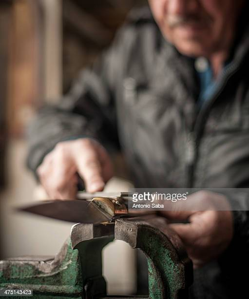 Man making knife, Barumini, Sardinia, Italy