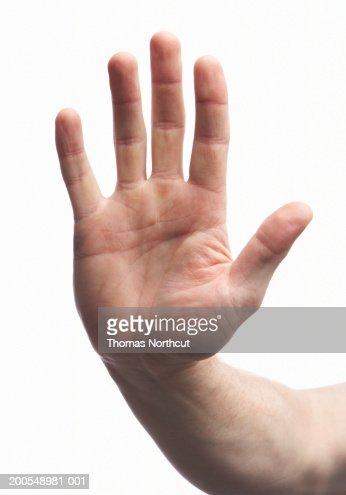 Man Making Stop Gesture Closeup Of Hand Stock Photo ...