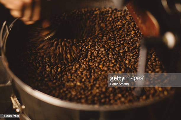 Man mixing roasted coffee beans