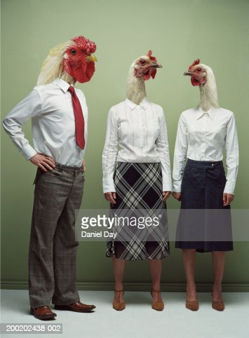 Man morphed as cockerel and two women as hens (Digital Composite)