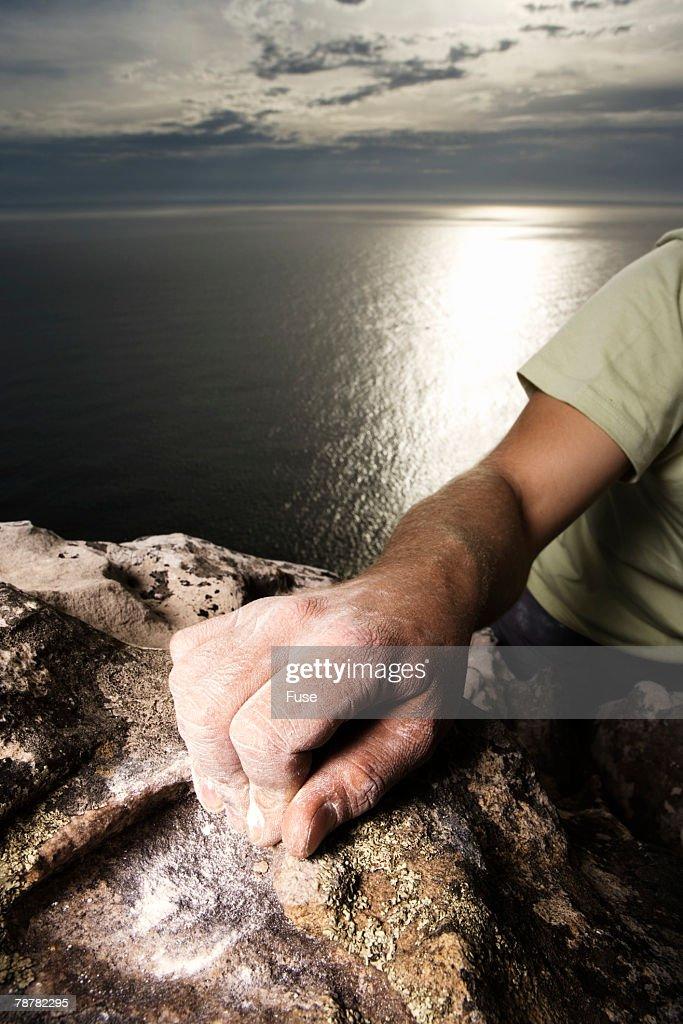 Man Mountain Climbing : Stock Photo