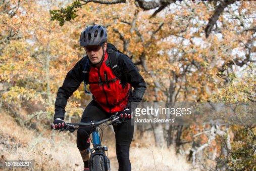 A man mountian biking. : Stock Photo