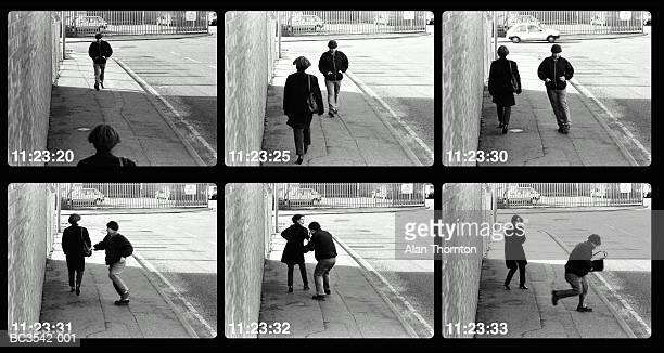 Man mugging woman in street (video still, Digital Composite)
