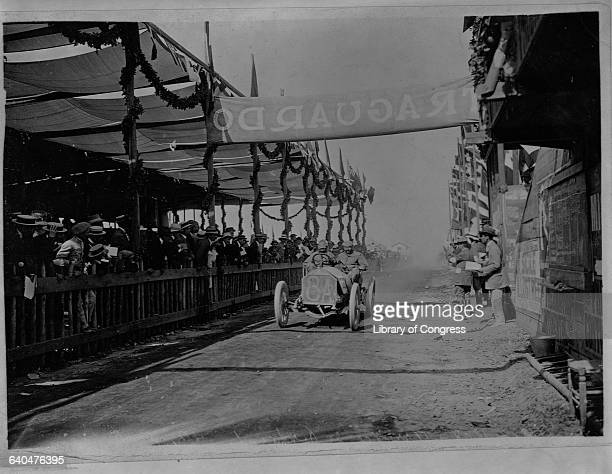 A man named Porporato finishes fourth in his Berliet at the 1908 Targa Florio auto race in Sicily