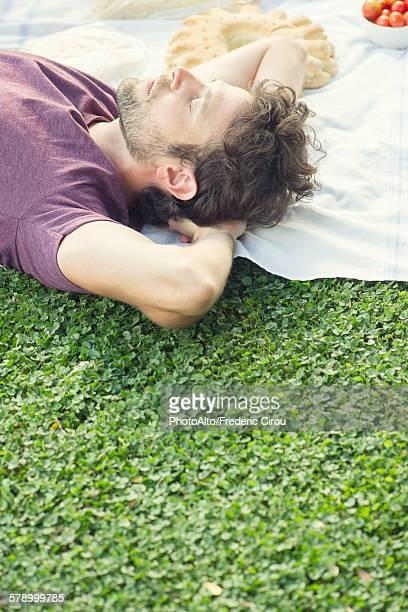 Man napping after picnic