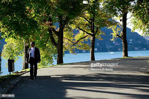 A man of security control Villa d'Este site of the 2009 Ambrosetti Economic Workshop on September 5 2009 in Cernobbio Italy Some of the World's top...