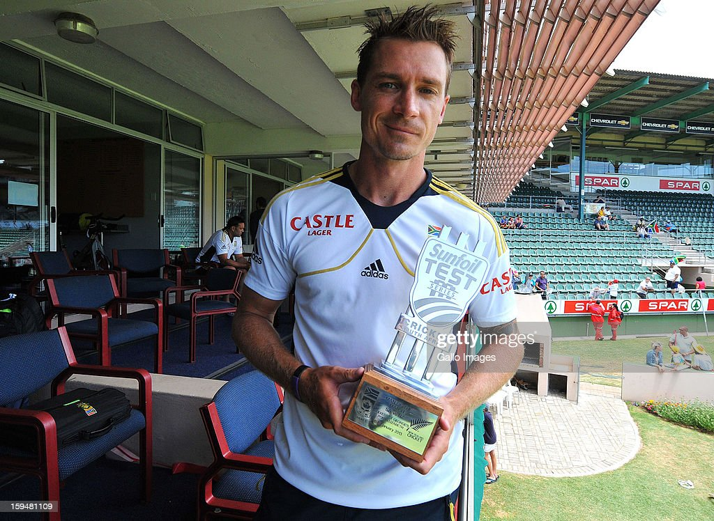 Man of the Match <a gi-track='captionPersonalityLinkClicked' href=/galleries/search?phrase=Dale+Steyn&family=editorial&specificpeople=649553 ng-click='$event.stopPropagation()'>Dale Steyn</a> of South Africa poses with his trophy during day 4 of the 2nd Test match between South Africa and New Zealand at Axxess St Georges on January 14, 2013 in Port Elizabeth, South Africa.