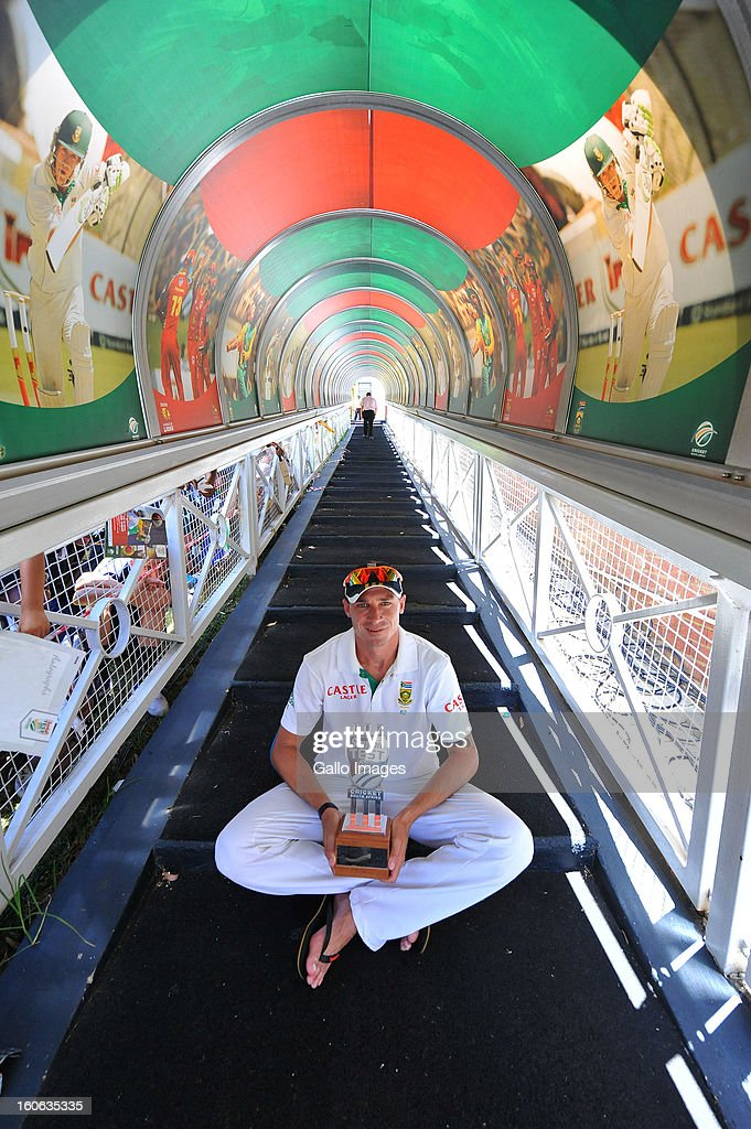 Man of the Match <a gi-track='captionPersonalityLinkClicked' href=/galleries/search?phrase=Dale+Steyn&family=editorial&specificpeople=649553 ng-click='$event.stopPropagation()'>Dale Steyn</a> of South Africa with figures of 11 wickets for 60 runs poses during day 4 of the 1st Test match between South Africa and Pakistan at Bidvest Wanderers Stadium on February 4, 2013 in Johannesburg, South Africa.