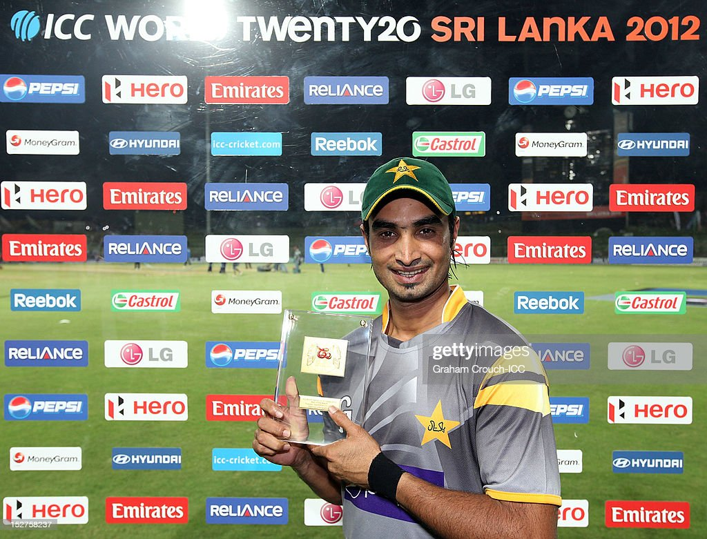 Man of the Match in the Group D match <a gi-track='captionPersonalityLinkClicked' href=/galleries/search?phrase=Imran+Nazir&family=editorial&specificpeople=2228421 ng-click='$event.stopPropagation()'>Imran Nazir</a> of Pakistan poses with his Man of the Match award between Pakistan and Bangladesh at Pallekele Cricket Stadium on September 25, 2012 in Kandy, Sri Lanka.