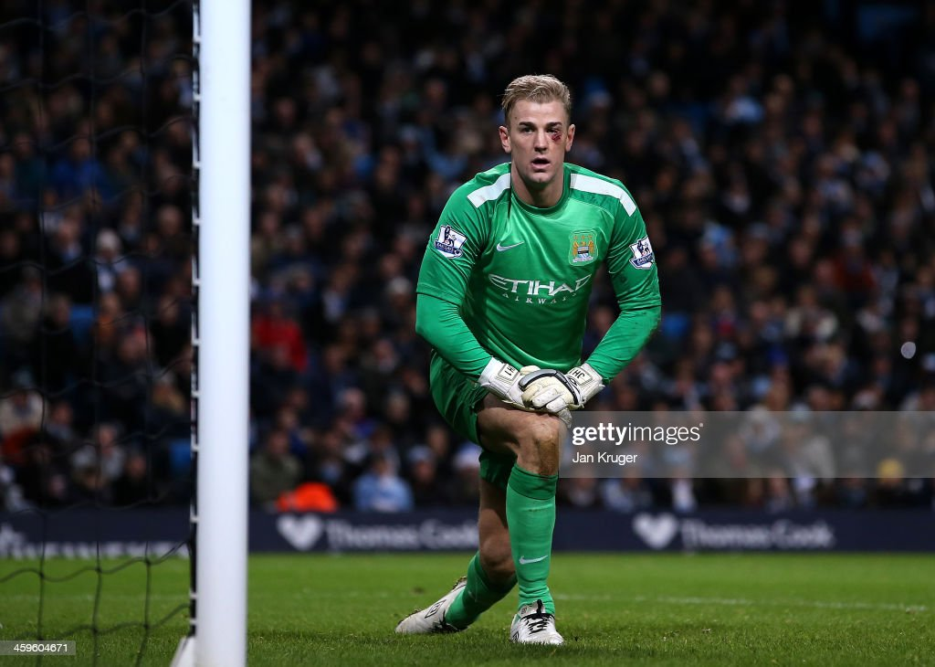 Man of the Match <a gi-track='captionPersonalityLinkClicked' href=/galleries/search?phrase=Joe+Hart&family=editorial&specificpeople=1295472 ng-click='$event.stopPropagation()'>Joe Hart</a>, Goalkeeper of Manchester City looks on during the Barclays Premier League match between Manchester City and Crystal Palace at the Etihad Stadium on December 28, 2013 in Manchester, England.