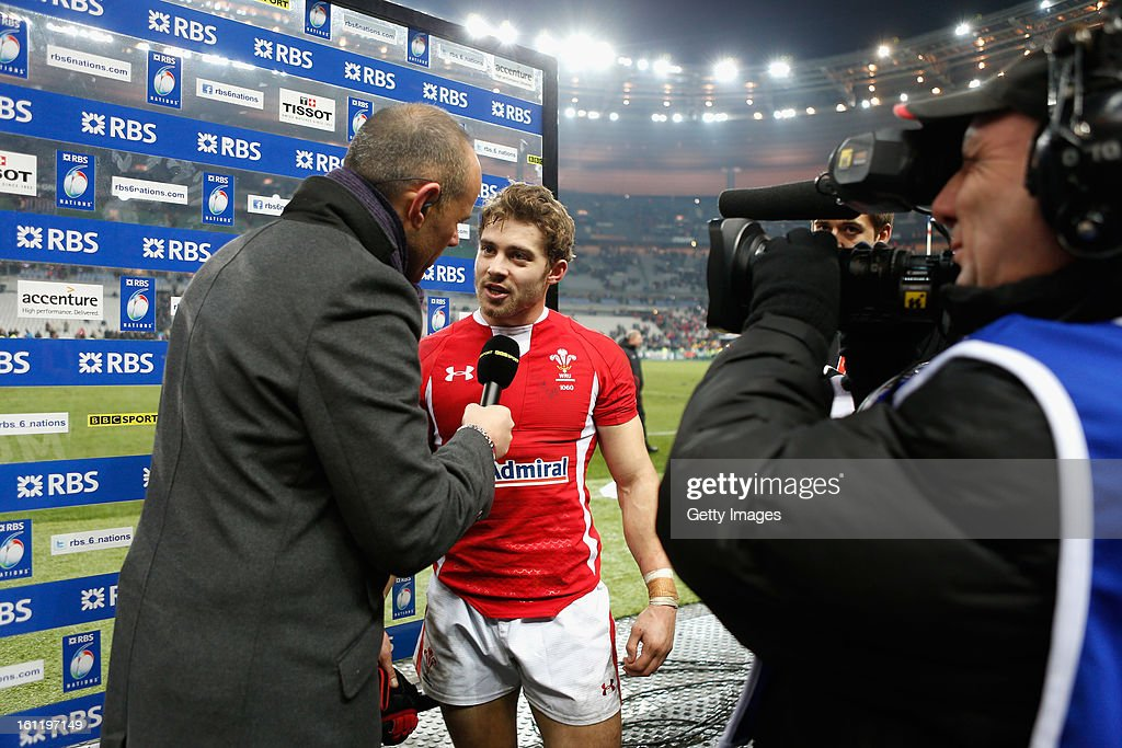 Man of the Match Leigh Halfpenny of Wales is interviewed after the RBS Six Nations match between France and Wales at Stade de France on February 9, 2013 in Paris, France.
