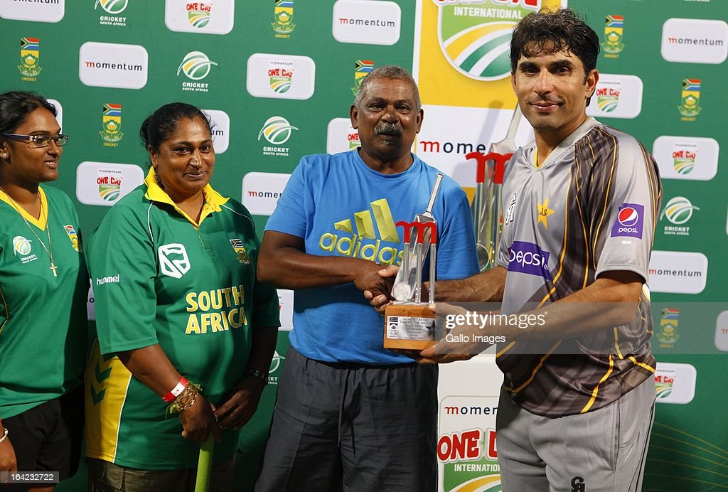 Man of the match, Misbah ul Haq during the 4th Momentum One Day International match between South Africa and Pakistan at Sahara Stadium Kingsmead on March 21, 2013 in Durban, South Africa.
