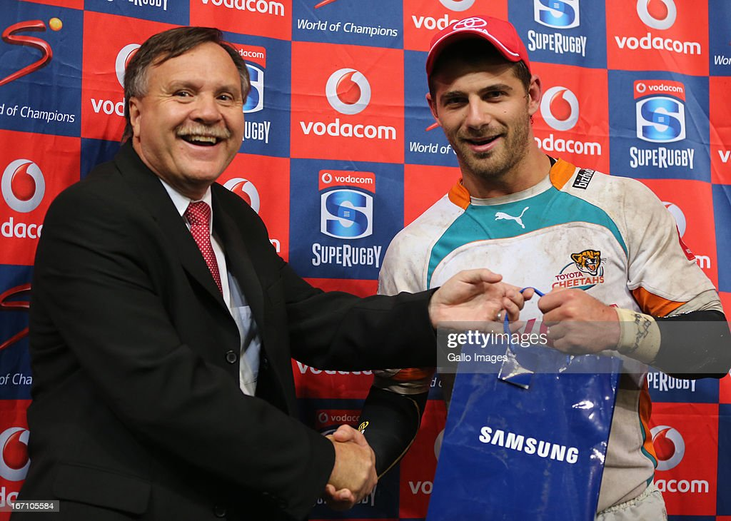 Man of the match Willie le Roux during the Super Rugby match between The Sharks and Toyota Cheetahs from Kings Park on April 20, 2013 in Durban, South Africa.
