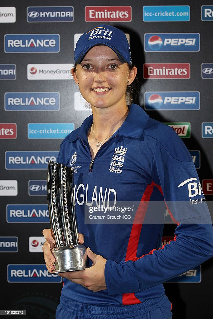 Man of the Match winner Sarah Taylor of England poses following England's victory over New Zealand in the Super Sixes ICC Women's World Cup India 2013 match between New Zealand and England at the Cricket Club of India ground on February 13, 2013 in Mumbai, India.