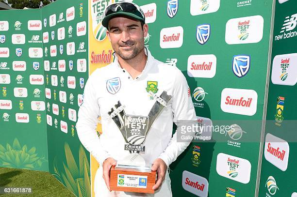 Man of the series Dean Elgar of the Proteas during day 3 of the 3rd test between South Africa and Sri Lanka at Bidvest Wanderers Stadium on January...
