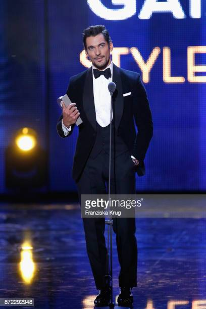 Man of the year David Gandy is seen on stage at the GQ Men of the year Award 2017 show at Komische Oper on November 9 2017 in Berlin Germany