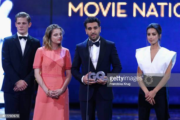 Man of the year Elyas M'Barek with Max von der Groeben Jella Haase and Gizem Emre on stage at the GQ Men of the year Award 2017 show at Komische Oper...