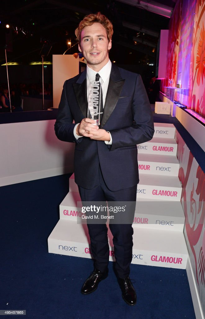Man of the Year winner <a gi-track='captionPersonalityLinkClicked' href=/galleries/search?phrase=Sam+Claflin&family=editorial&specificpeople=7238693 ng-click='$event.stopPropagation()'>Sam Claflin</a> poses at the Glamour Women of the Year Awards in Berkeley Square Gardens on June 3, 2014 in London, England.