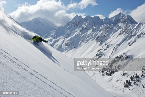 Man off piste skiing in Kuhtai , Tirol, Austria