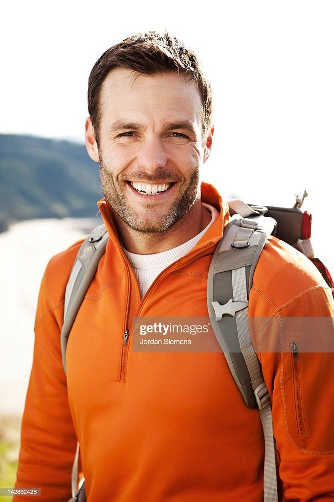 A man on a hike. : Stock Photo