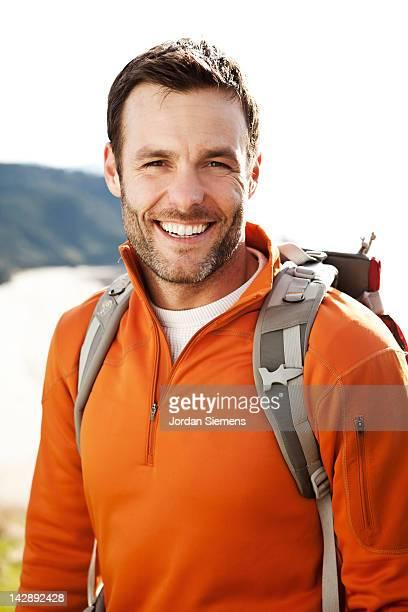 A man on a hike.