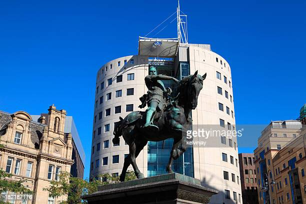 Man on a horse statue in Leeds City Square