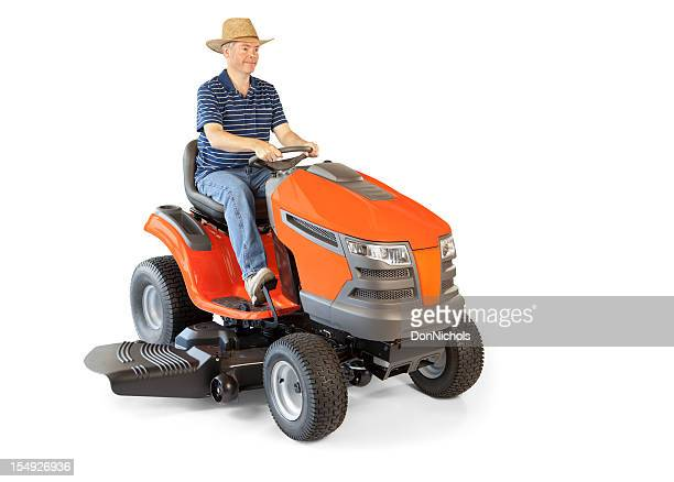 Man On Tractor Lawn Enforcment : Tracteur tondeuse photos et images de collection getty