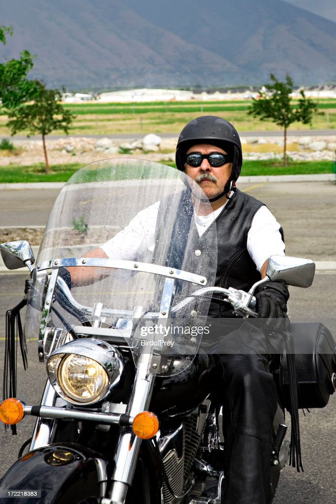 Man on a Motorcycle. : Stock Photo