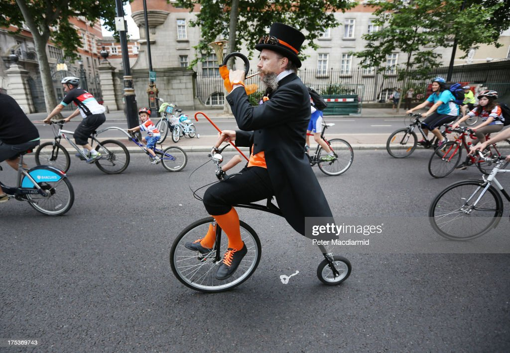 A man on a Penny Farthing style bicycle takes part in the Ride London Freecycle event on August 3, 2013 in London, England. Up to 50, 000 cyclists are expected to ride the eight mile traffic free route through central London.