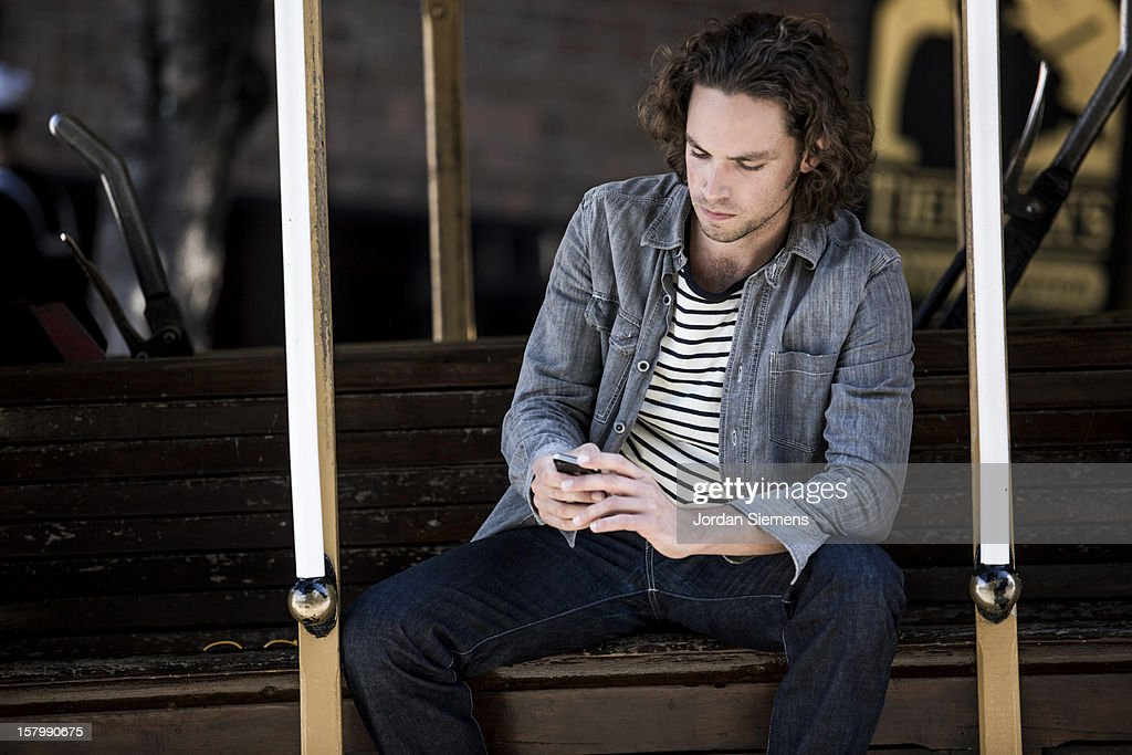 Man on a trolly in San Francisco. : Stock Photo