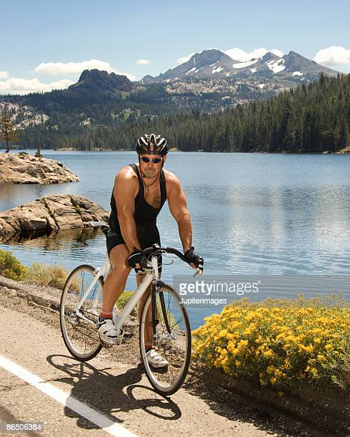Man on bike at Lake Tahoe, California, United States