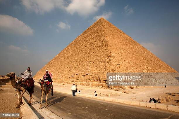 Man on camel with Pyramid of Khufu