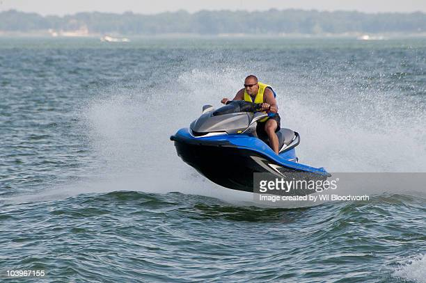 Man on flying watercraft