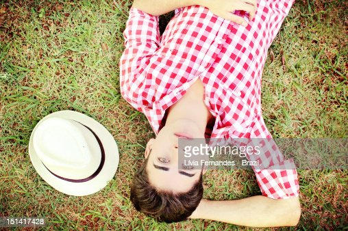 Man on grass : Stock Photo