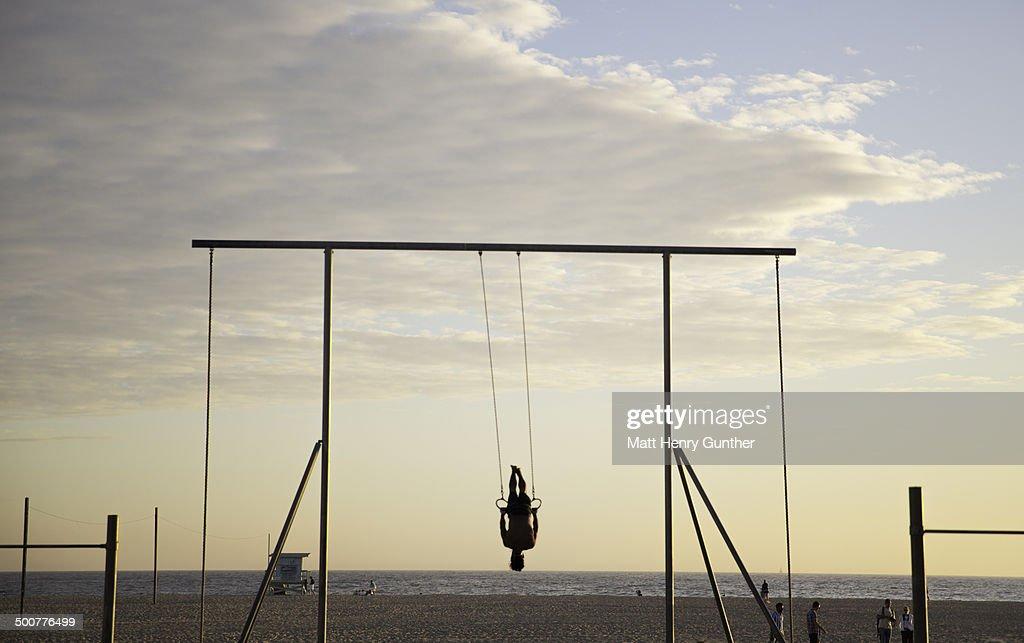 Man on gym Rings, Venice Beach