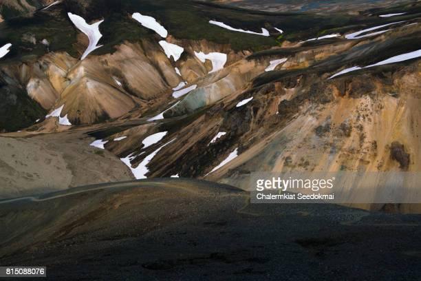 A man on Landmannalaugar Mountain