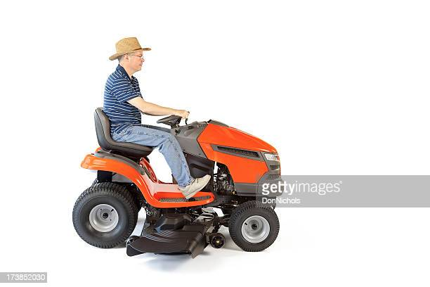 Man Riding Lawn Mower : Ride on mower stock photos and pictures getty images