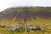 Man on Rocks Snaefellsnes Peninsula, West Iceland