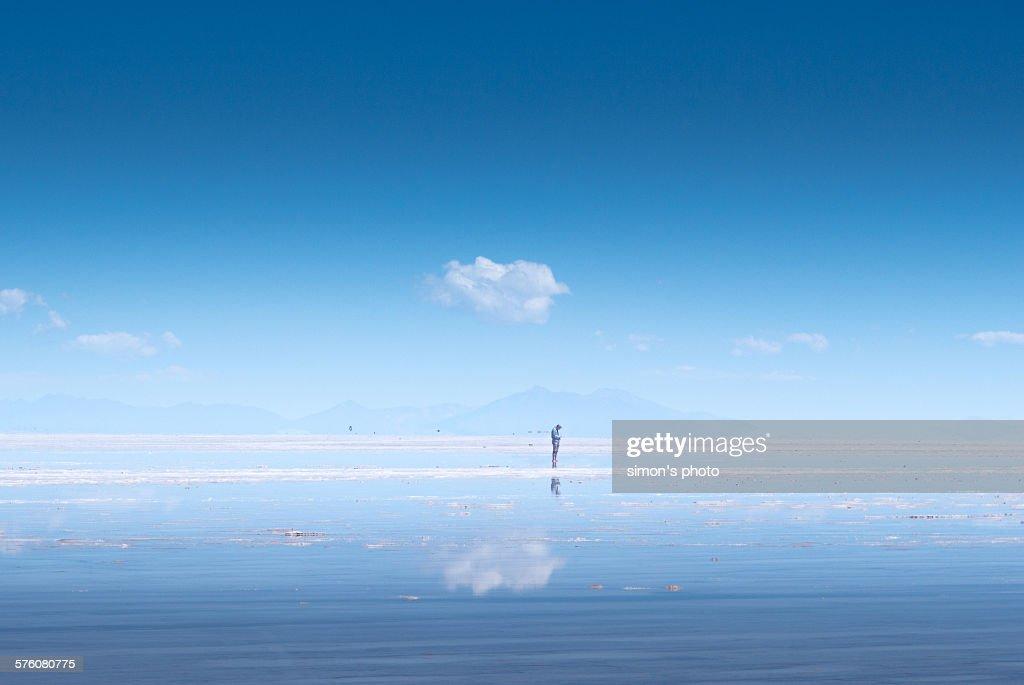 Man on salt flat